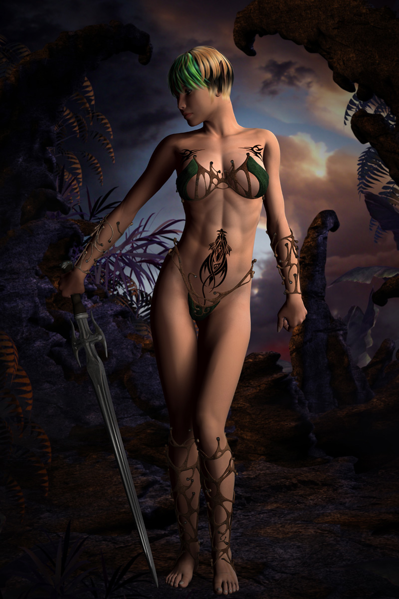 Naked female elf warrior sex scene