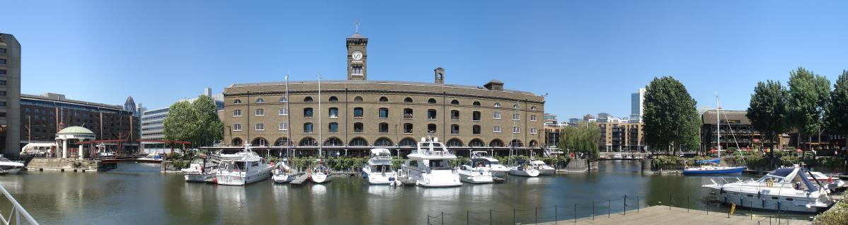 Panorama - Boats in St Katharine's Dock, London
