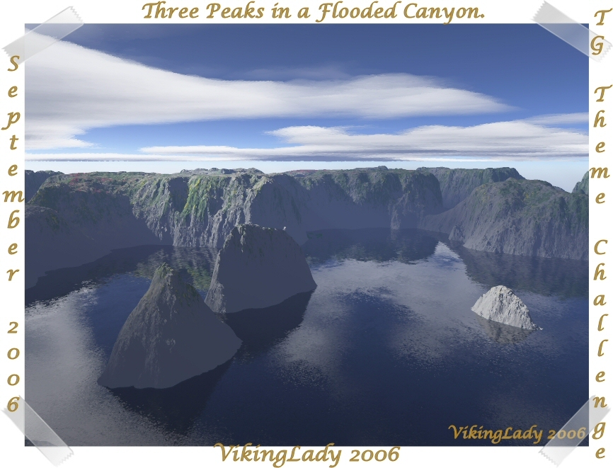Three Peaks in a Flooded Canyon