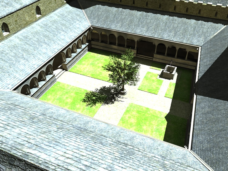 Aerial view of cloisters/Valle Crucis
