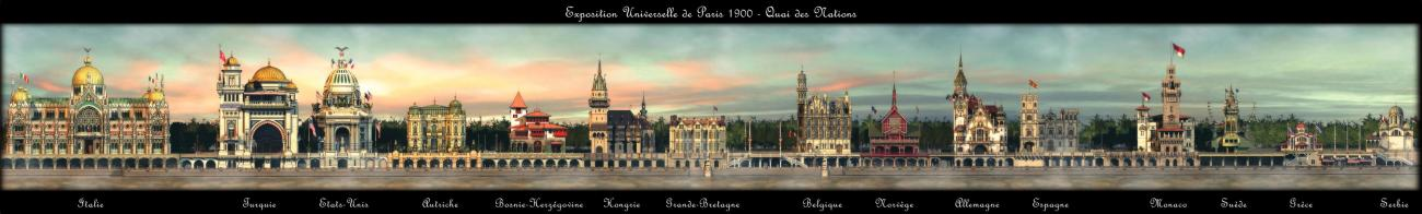 Panorama of 15th first pavilions, along the Seine