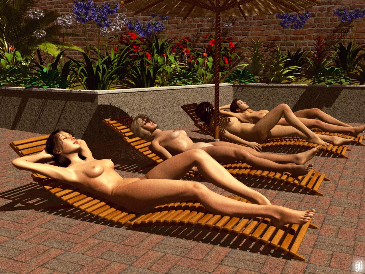 naked sunbathing