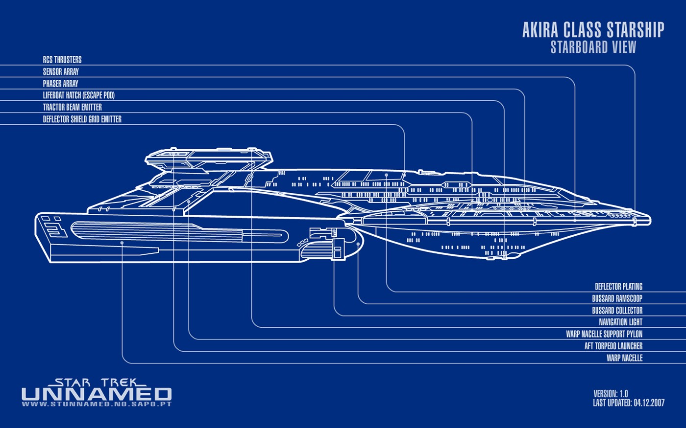 Akira Class Starship Schematic Starboard View By Napalmking 2d Navy M