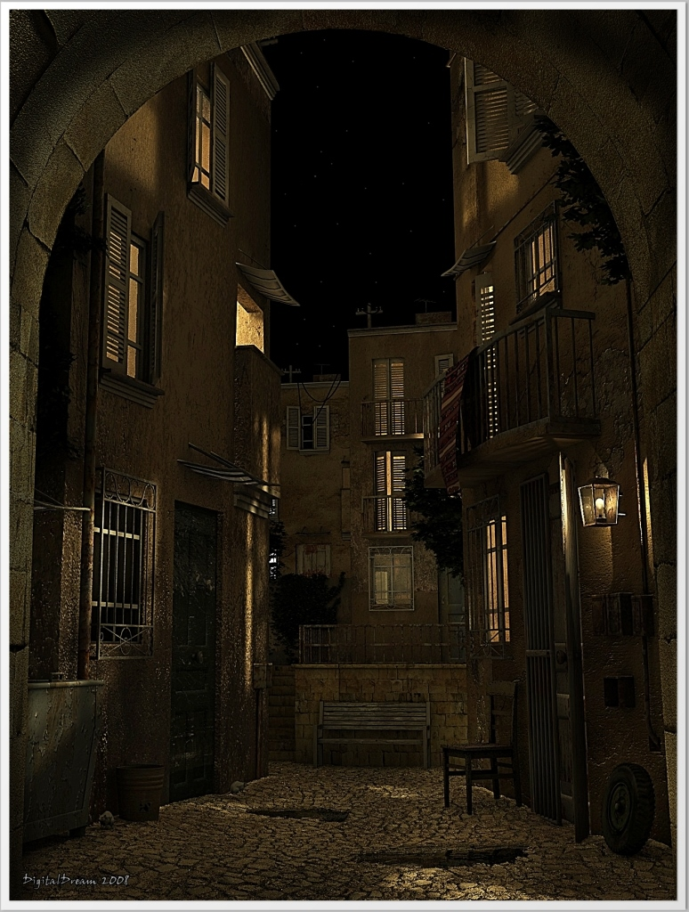 Backstreet night by digitaldream666 cinema 4d architecture for Cinema 4d architecture