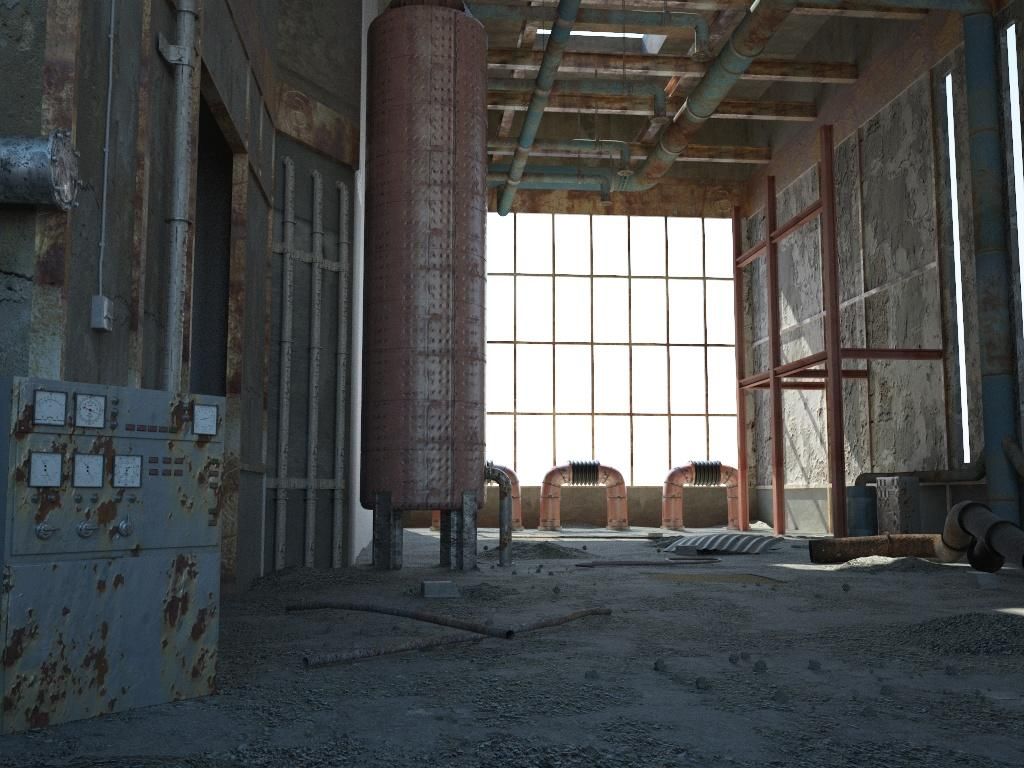 Old factory hall by vinced cinema 4d architecture for Cinema 4d architecture
