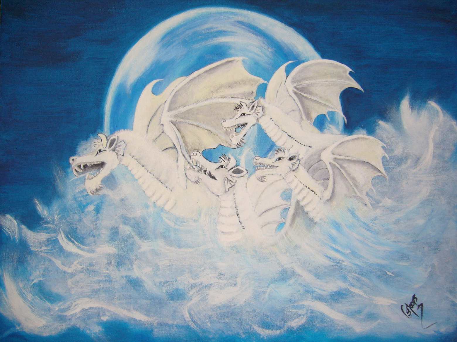 Snow Dragons (Oil Painting)