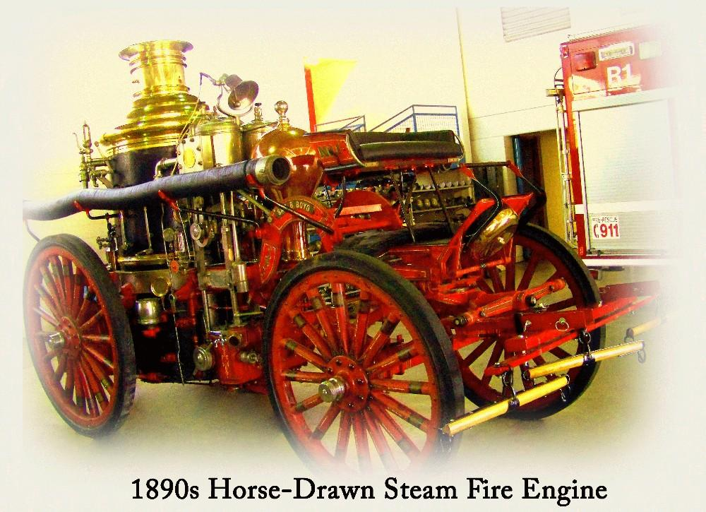 1890s Horse-Drawn Steam Fire Engine
