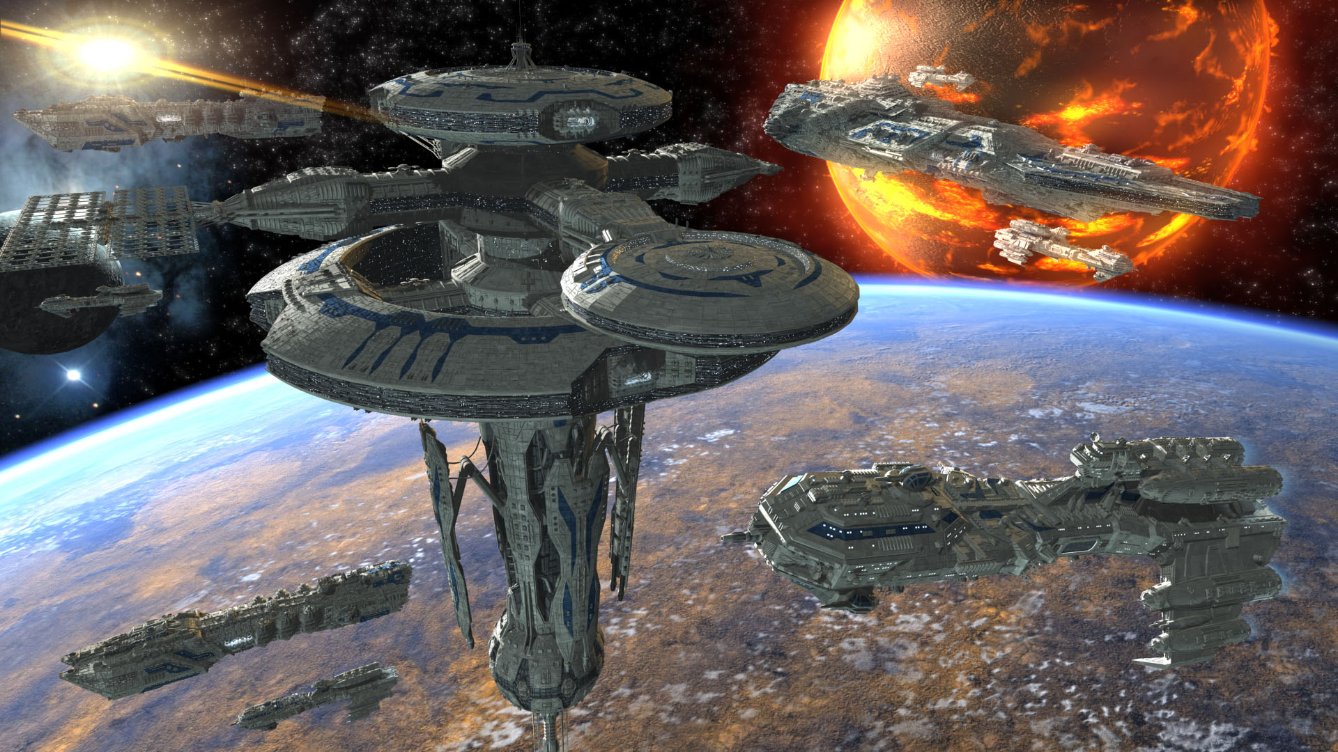 Sci Fi Stronghold : Allied fleets stronghold by skynet d modeling science