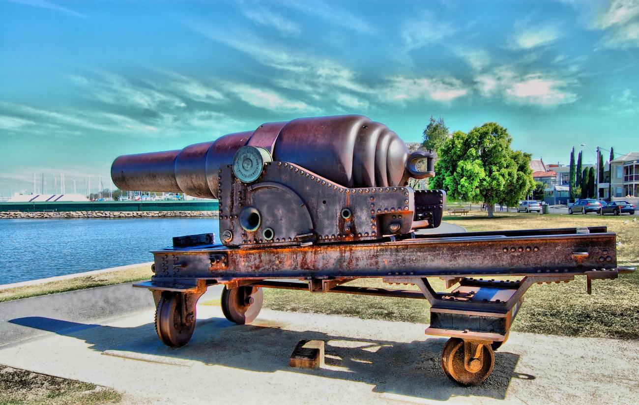 Side View Of The Old Cannon.