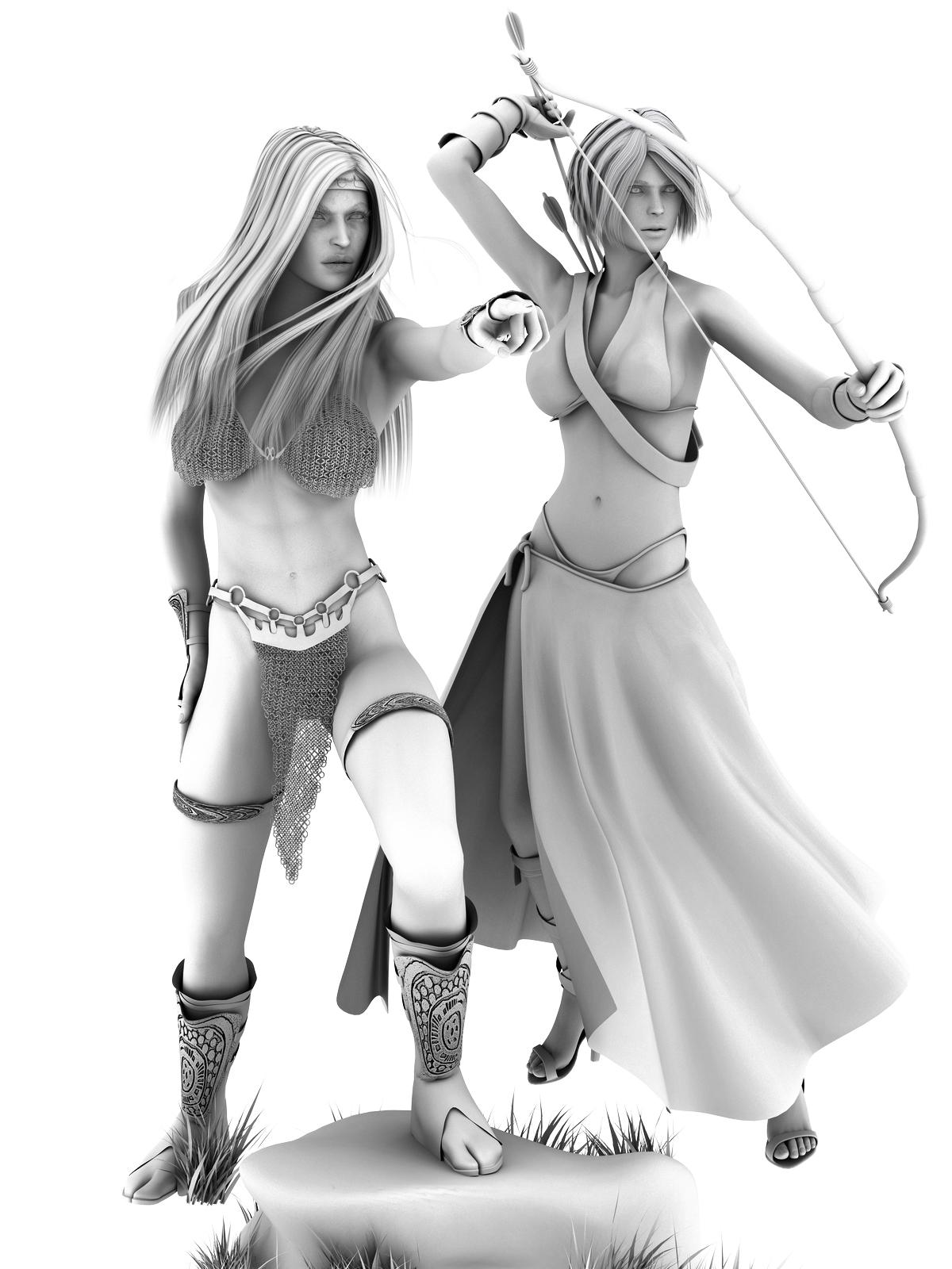Sonja and Huntress - Black & White by Thane888