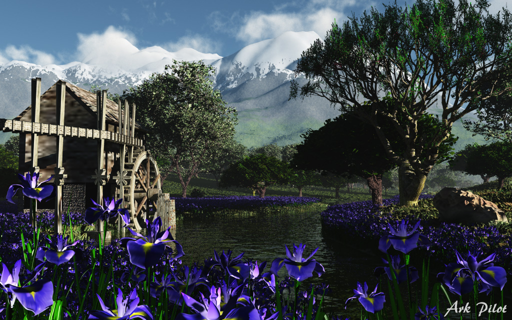 Scenery with water mill hut