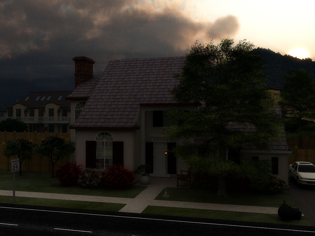 Mountain View Neighborhood at Dusk