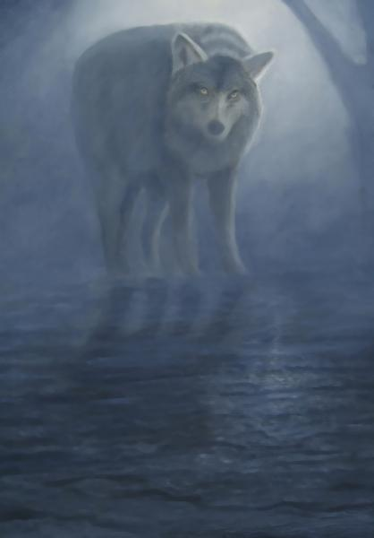 Wolf in the Mist, redone in oils