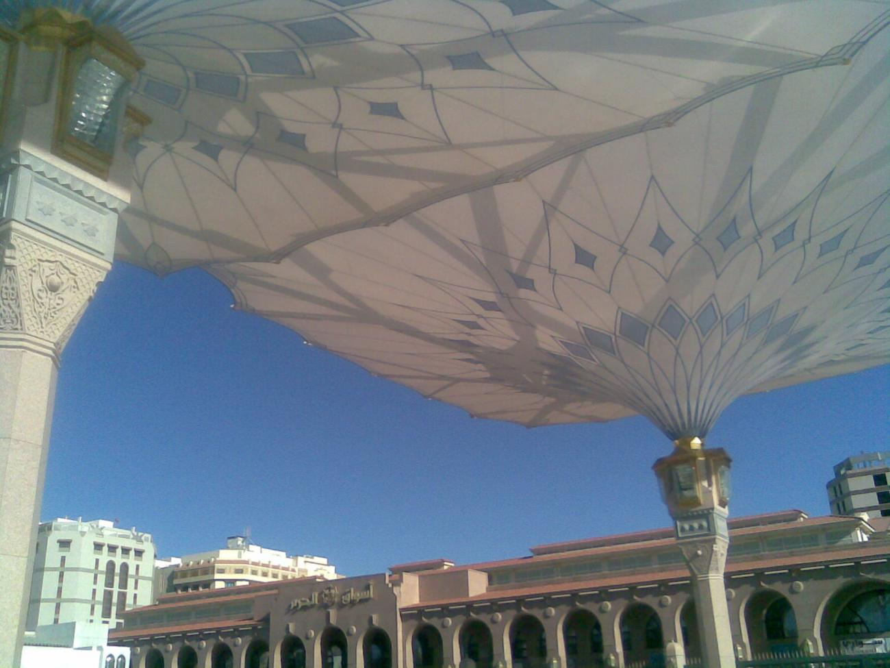 Giant umbrellas Mosque of Prophet Muhammad peace b