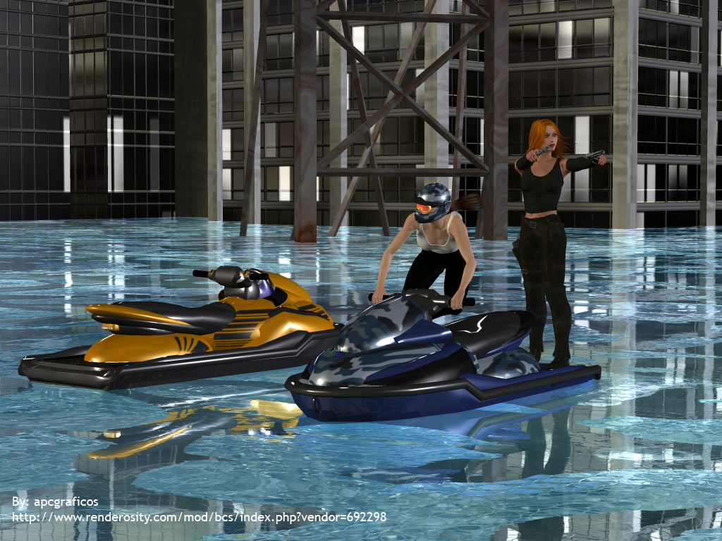 Jet Skiing in a flooded city