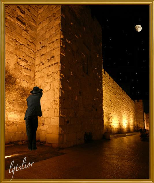 Western Wall By Night