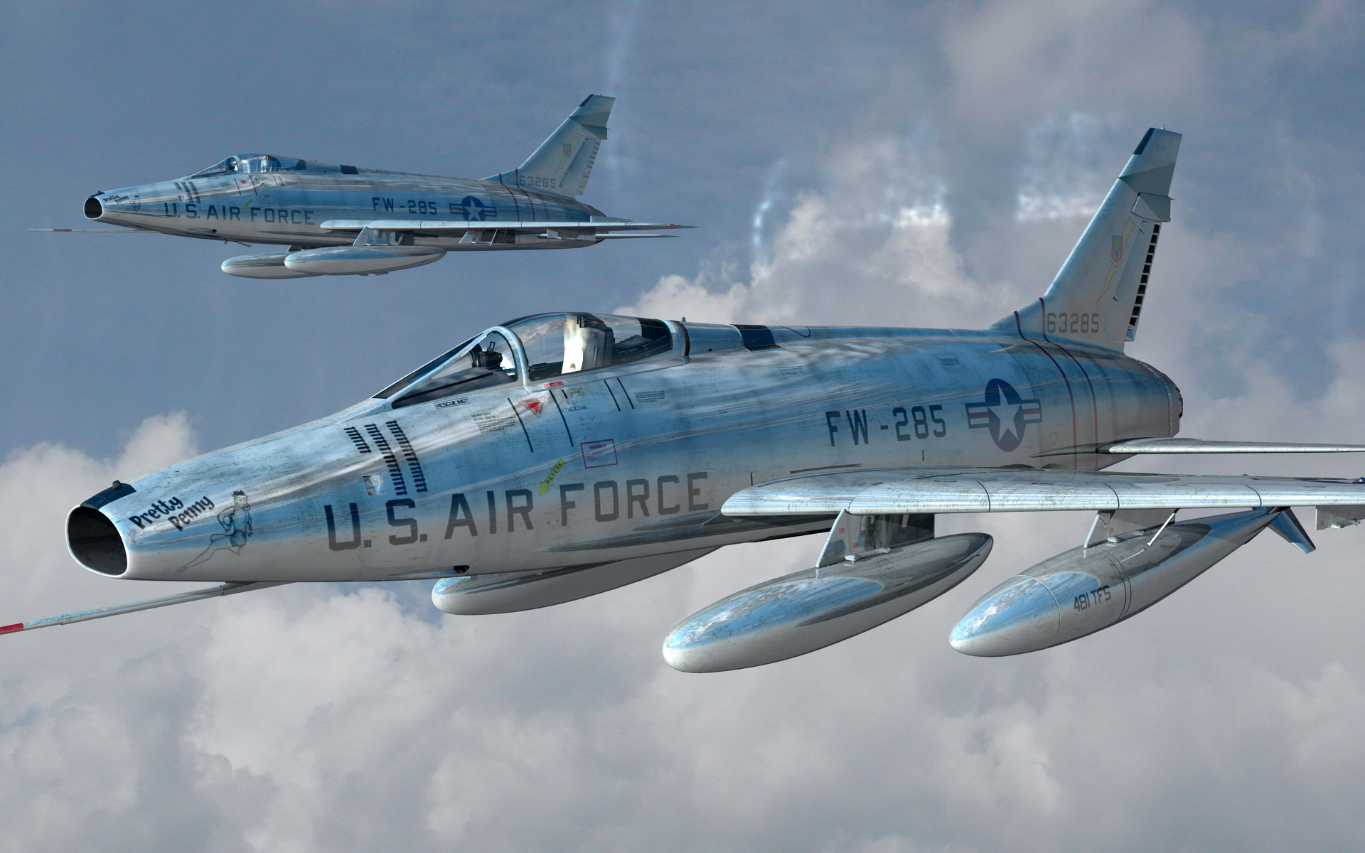 F100 Super Sabre Jet Highly Reflective By Pixelcandy Vue Military