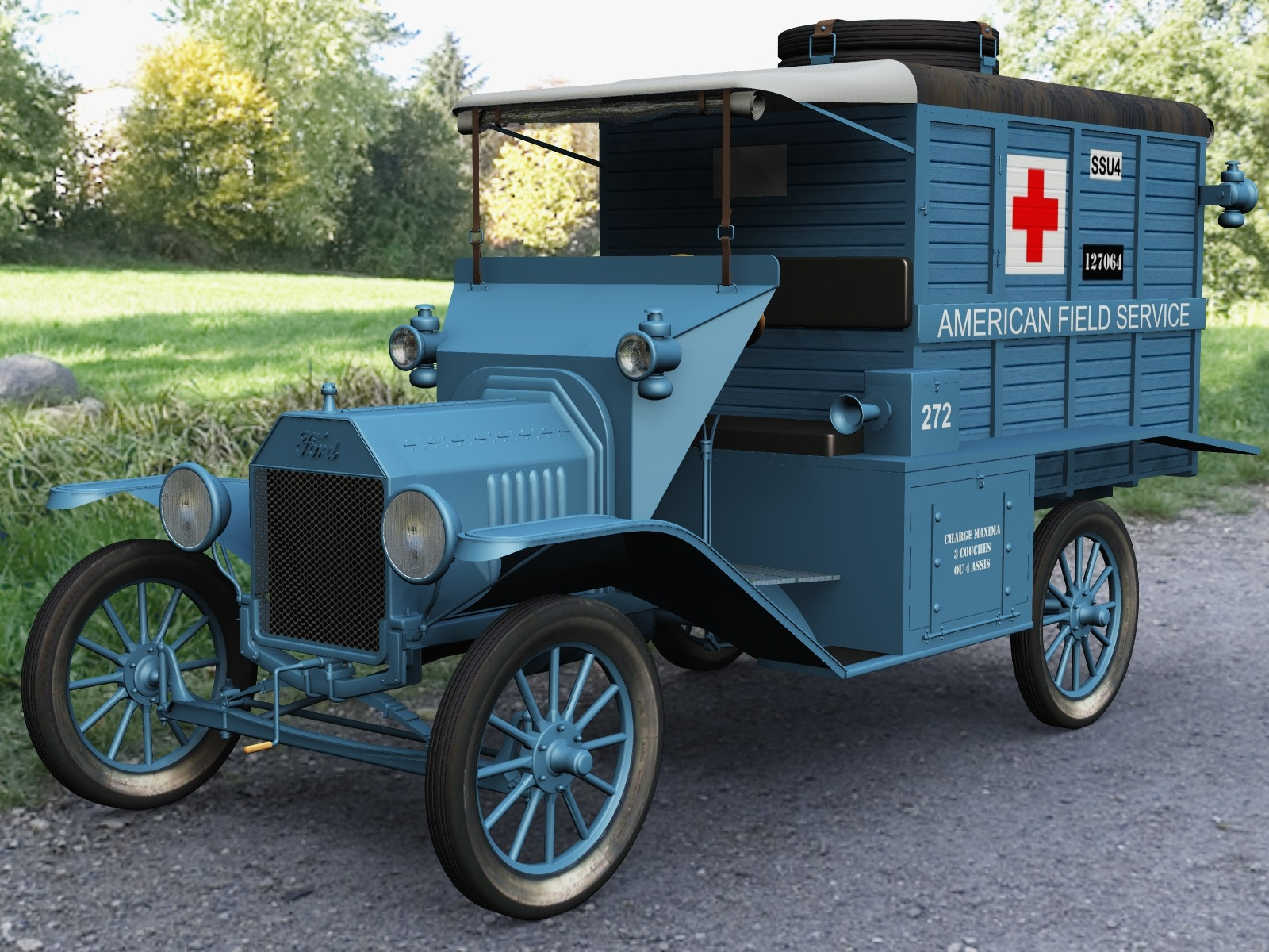 FORD T AMBULANCE 1917 by 3DClassics123456 3D Modeling Historical