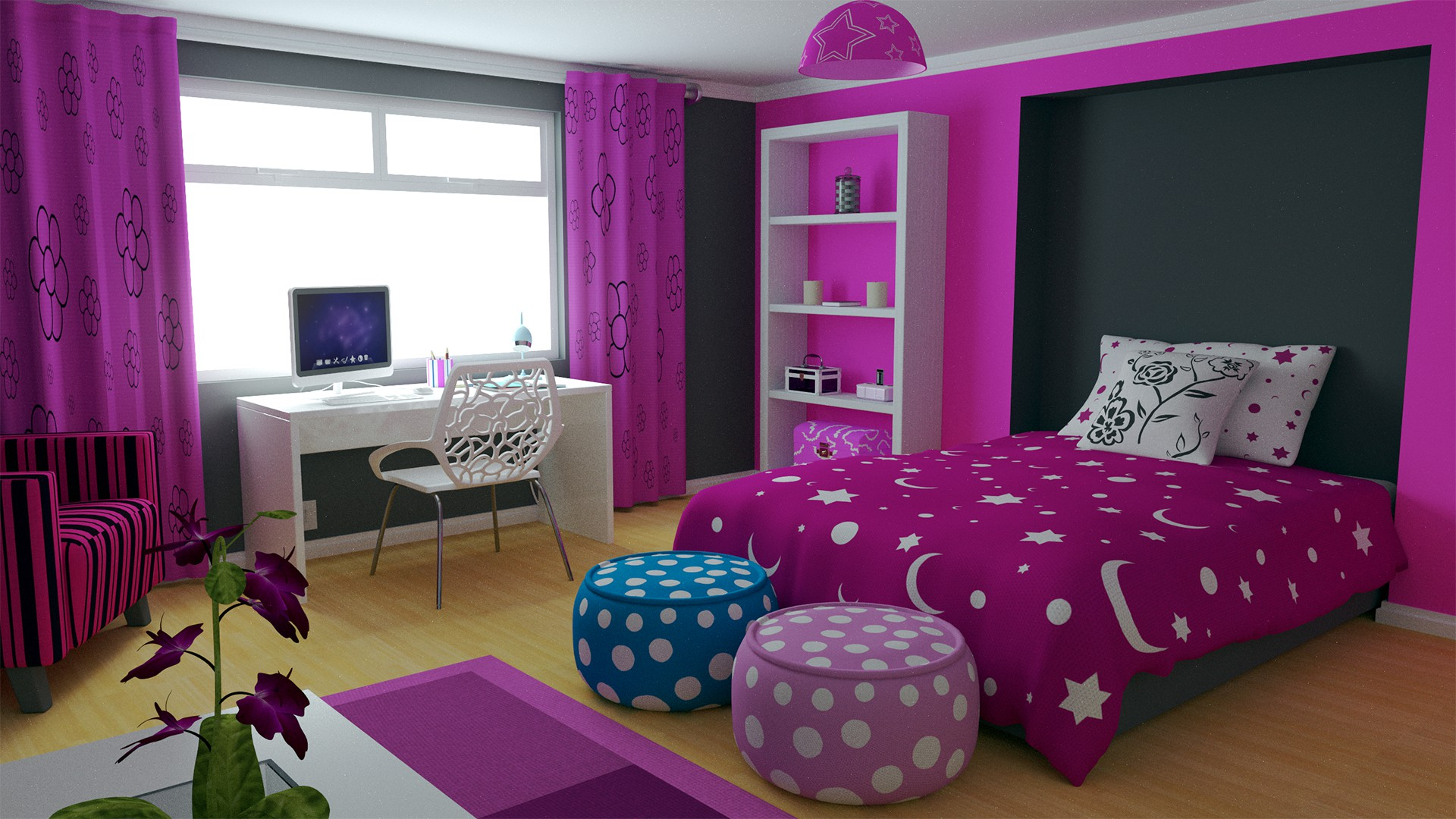 Modern girls bedroom by truform 3d modeling home Modern bedroom ideas for girls