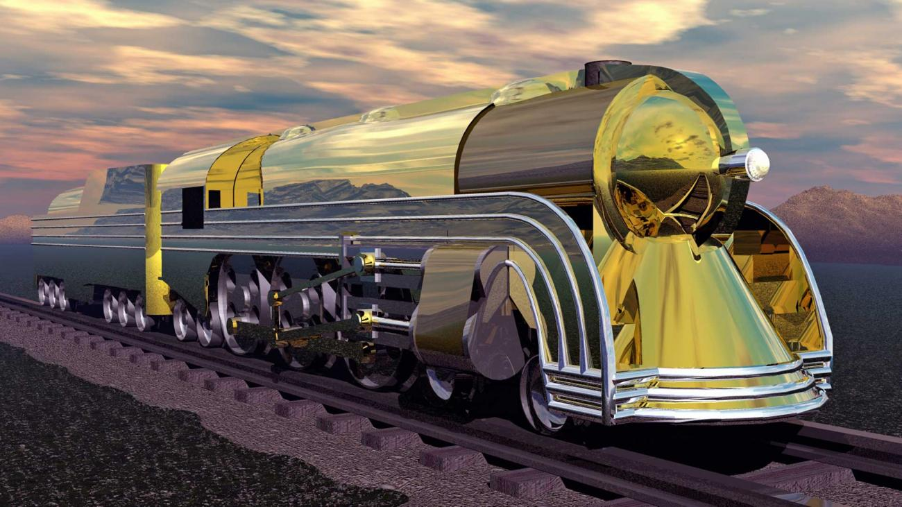Golden Hudson Locomotive