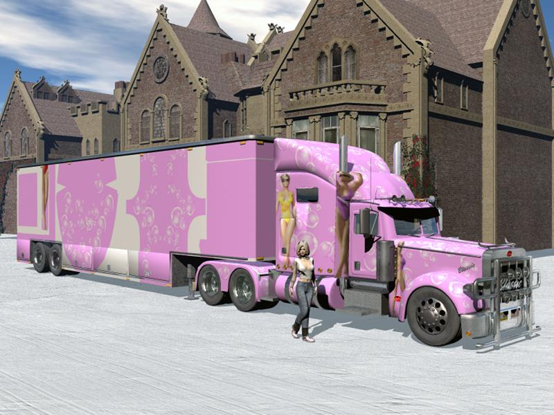 pink semi truck and trailer by ialbarado bryce transportation