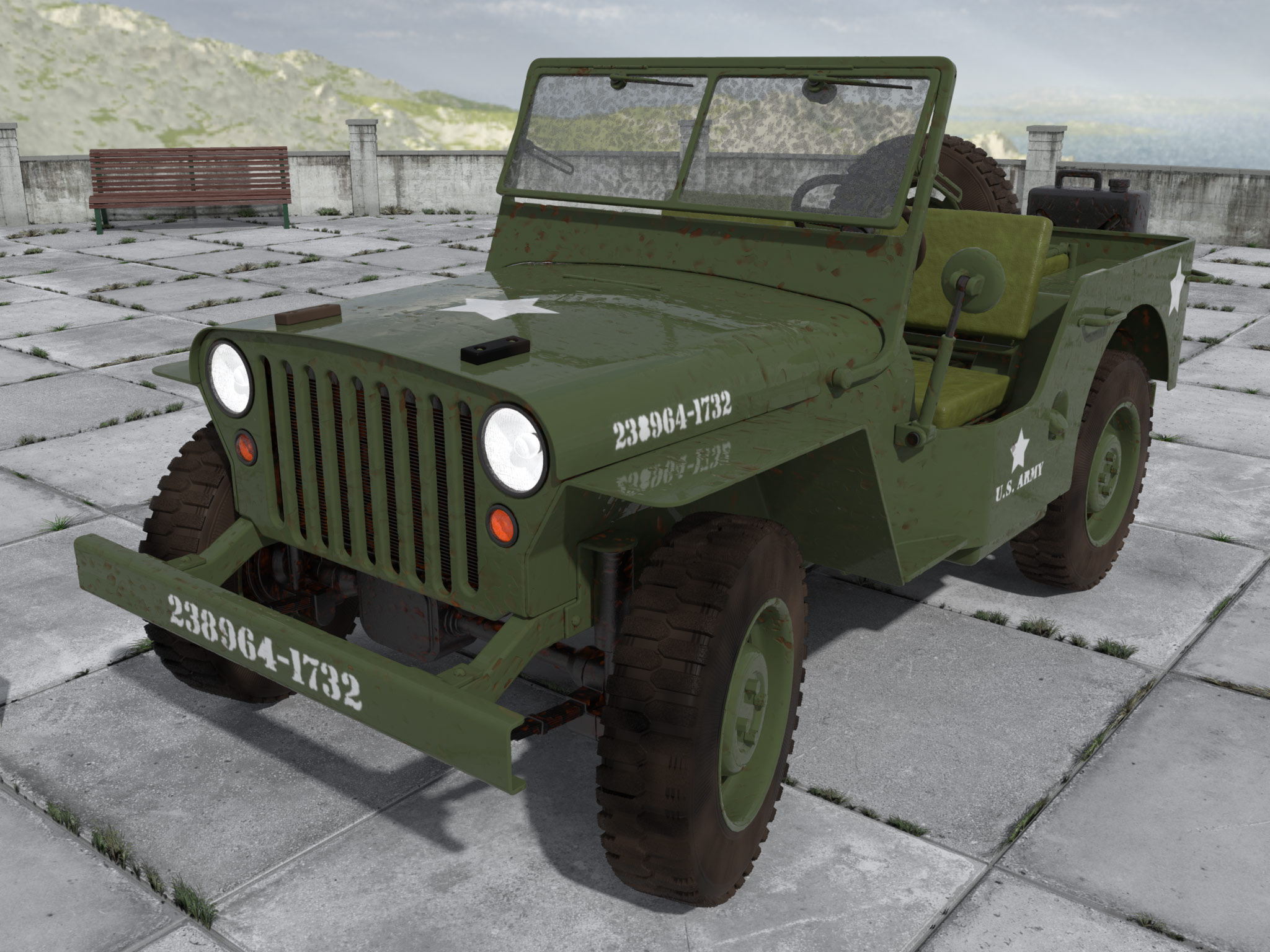 WW2 Jeep New paint job used look by monkeycloud Poser Work In