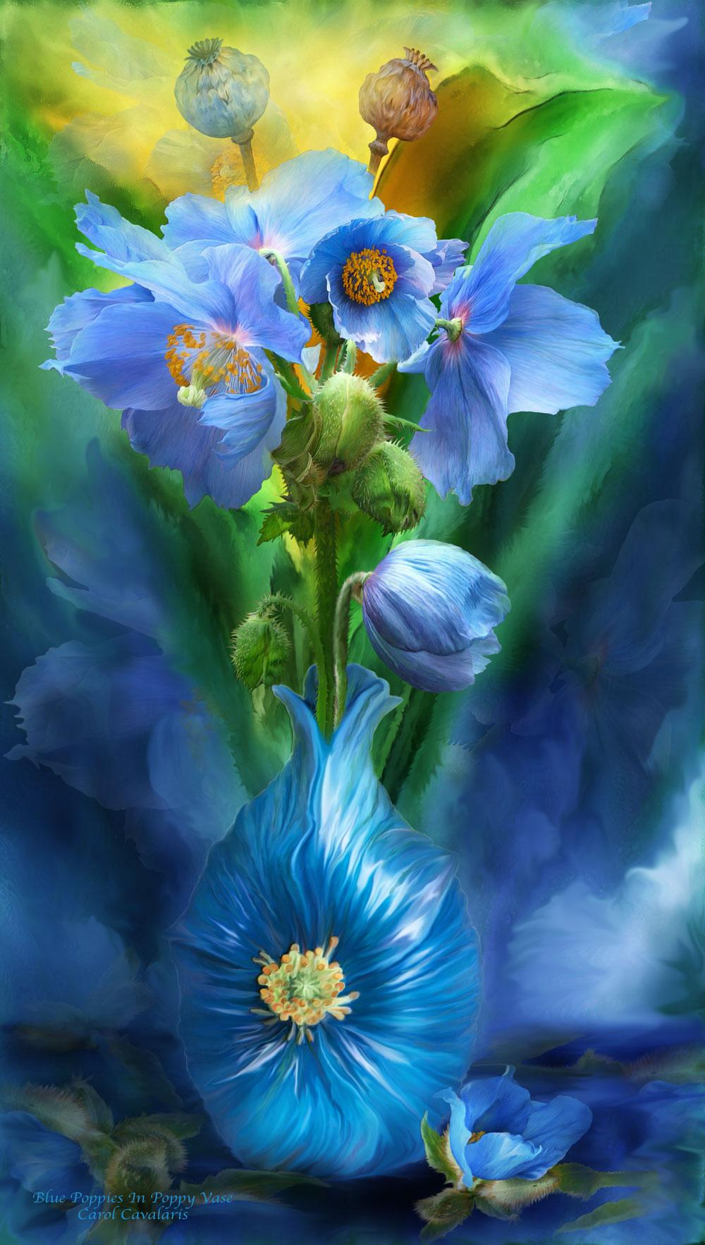 Blue Poppies In Poppy Vase