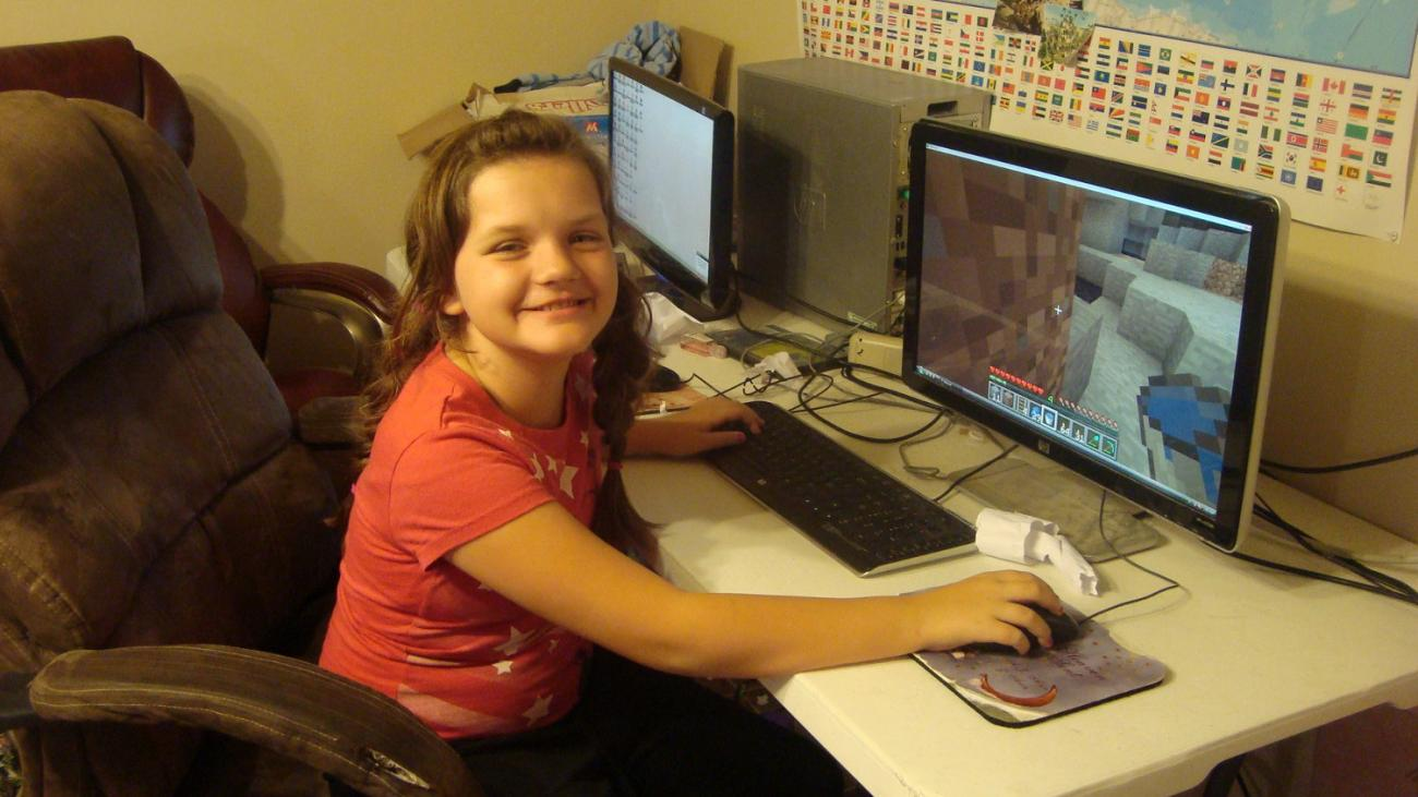 My daughter using my computer