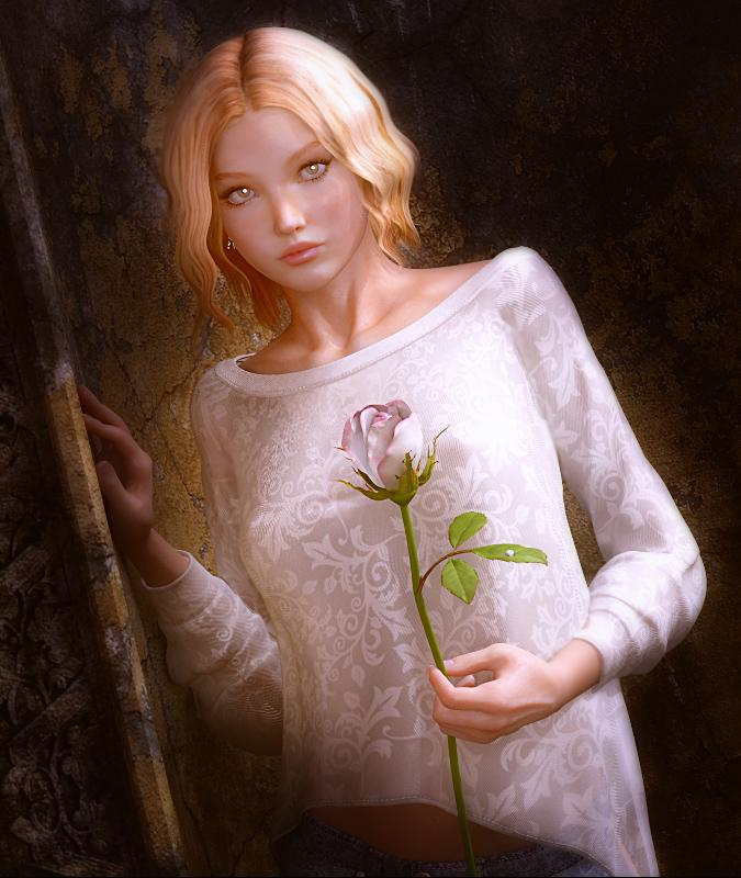 Girl with Rose by Babajaga