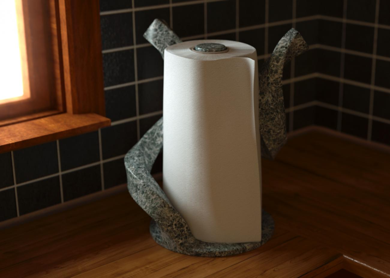 Hi res paper towel with custom holder