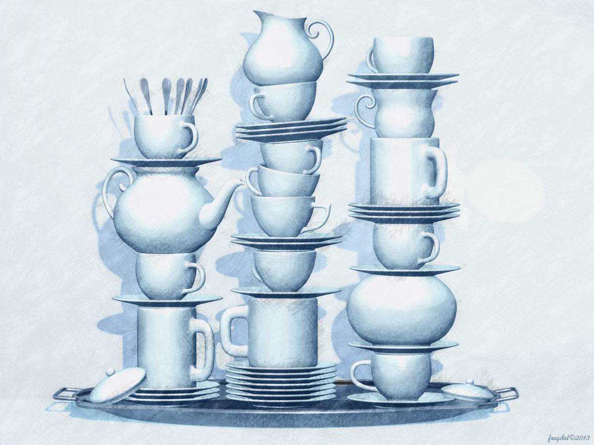 Cups & Saucers by frogdot