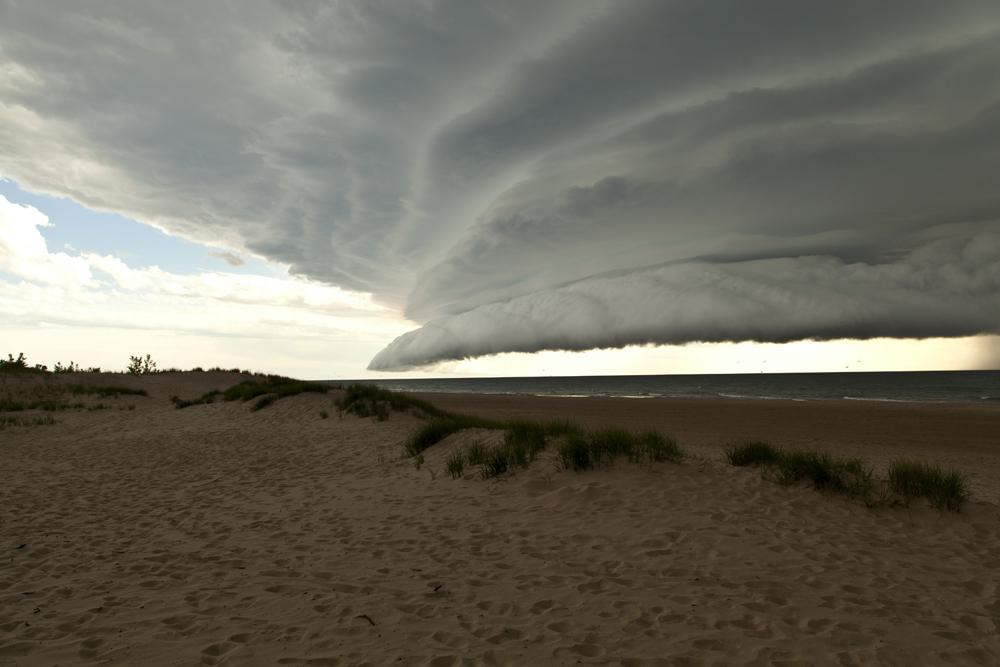 Supercell Thunderstorm Over Lake Michigan