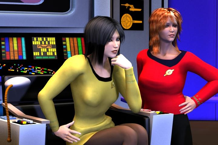 Julie and Angie, command team of the USS Tamerlane by Raymar3d