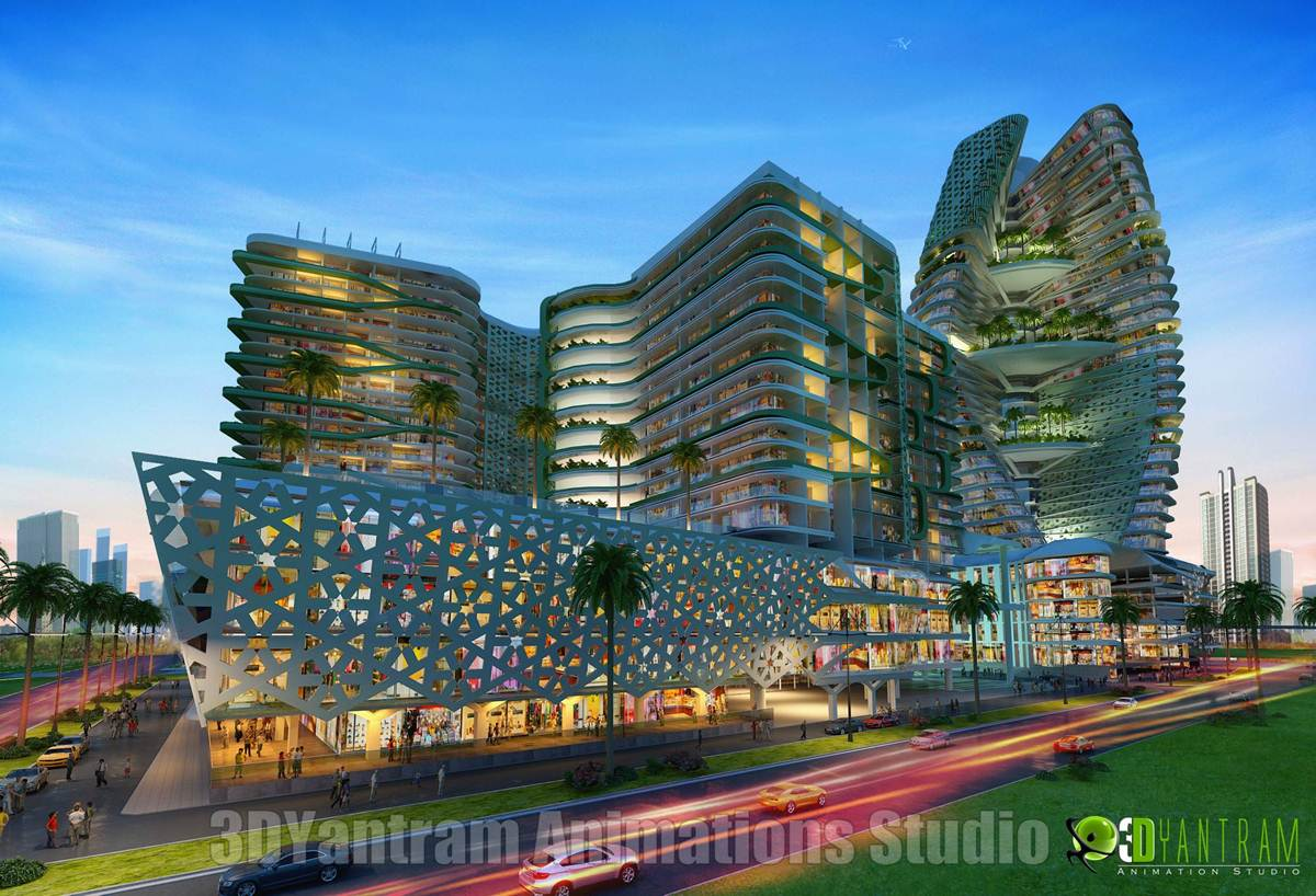 Shopping mall building exterior design night view by for Shopping mall exterior design