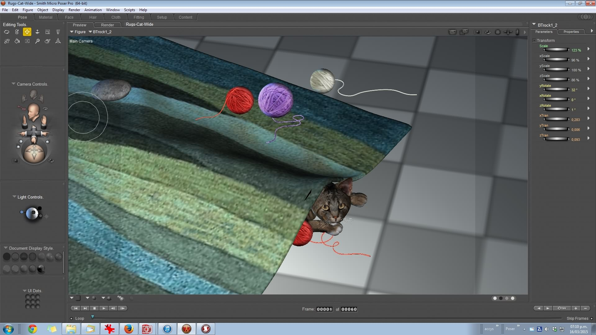 A Cat under the rug in Poser