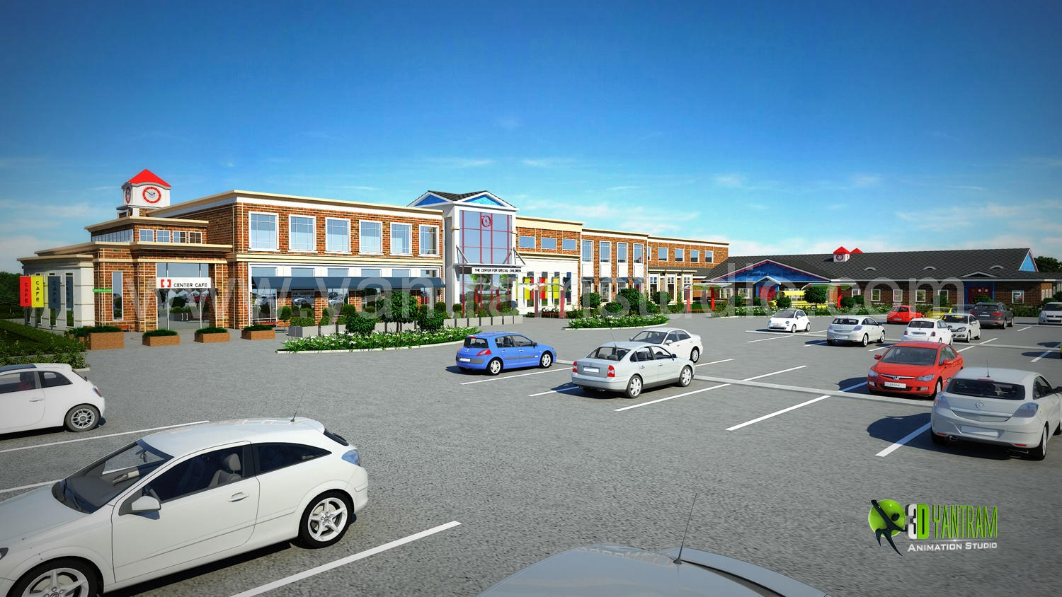 3d exterior rendering shopping mall design by for Shopping mall exterior design