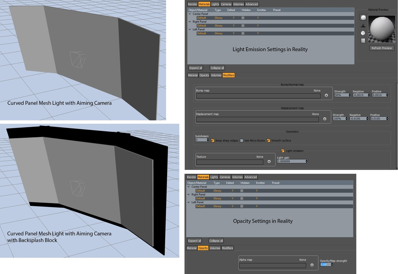 Curved Panel Mesh Light with Aiming Camera