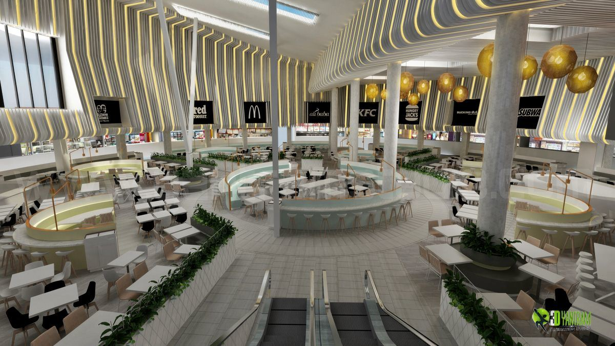 D modern interior shopping mall restaurant design by