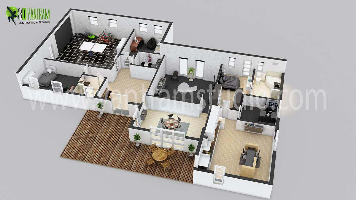 House 3d floor plan by yantramstudio 3d modeling architecture Home design plans 3d