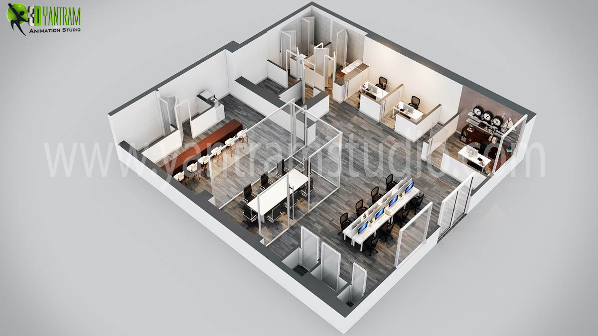 Modern office 3d floor plan design by yantramstudio 3d Office design 3d