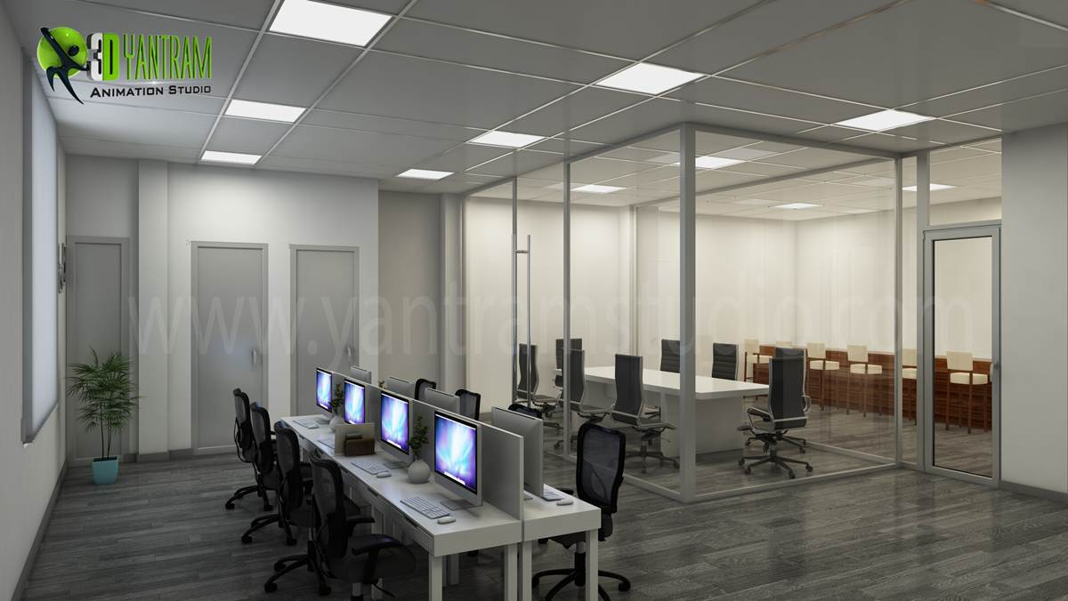 3d interior rendering for commercial office by for Office interior design gallery