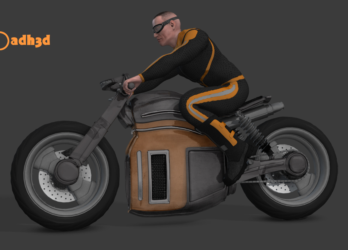 scifi motorcycle and pilot by adh3d