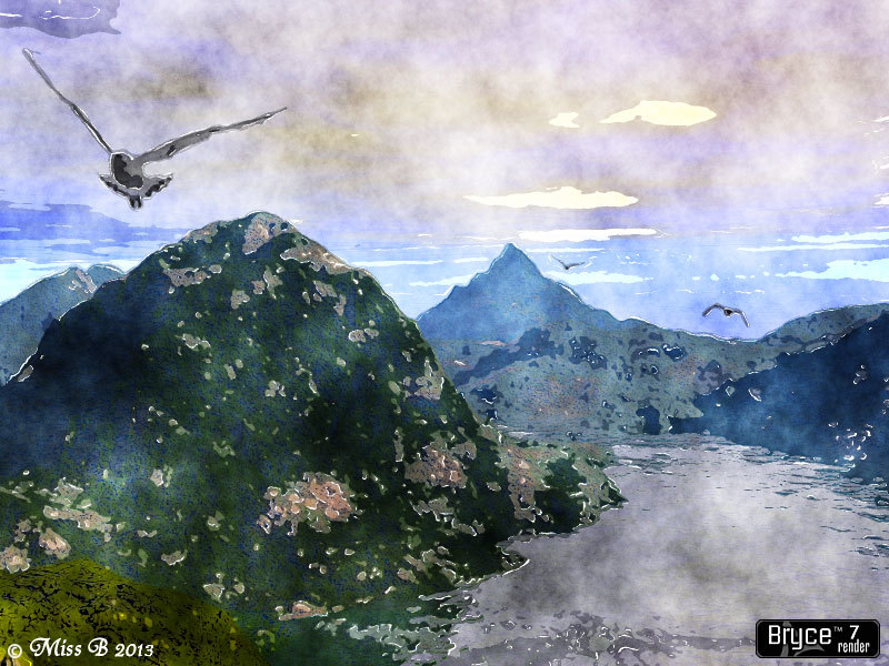 Terragen Terrain Watercolor by Miss B PhotoShop Landscape