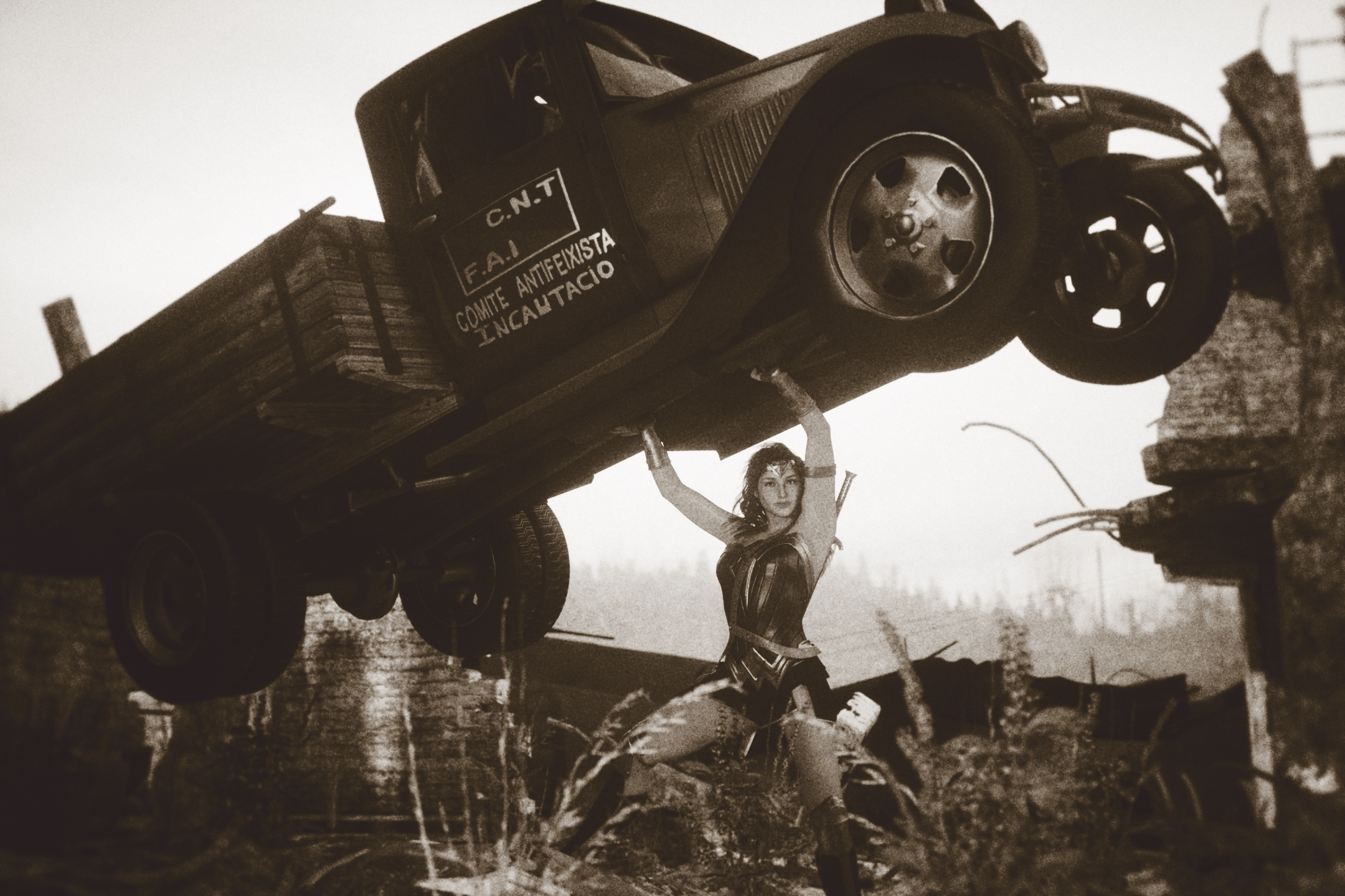 Movie Wonder Woman Picking Up Truck - Mono Revised
