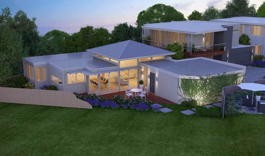 Architectural 3D Exterior Rendering of a House in