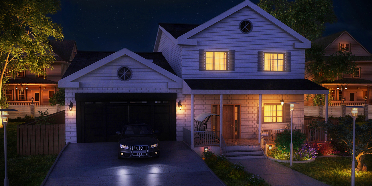 Night View 3D Exterior Rendering for Home