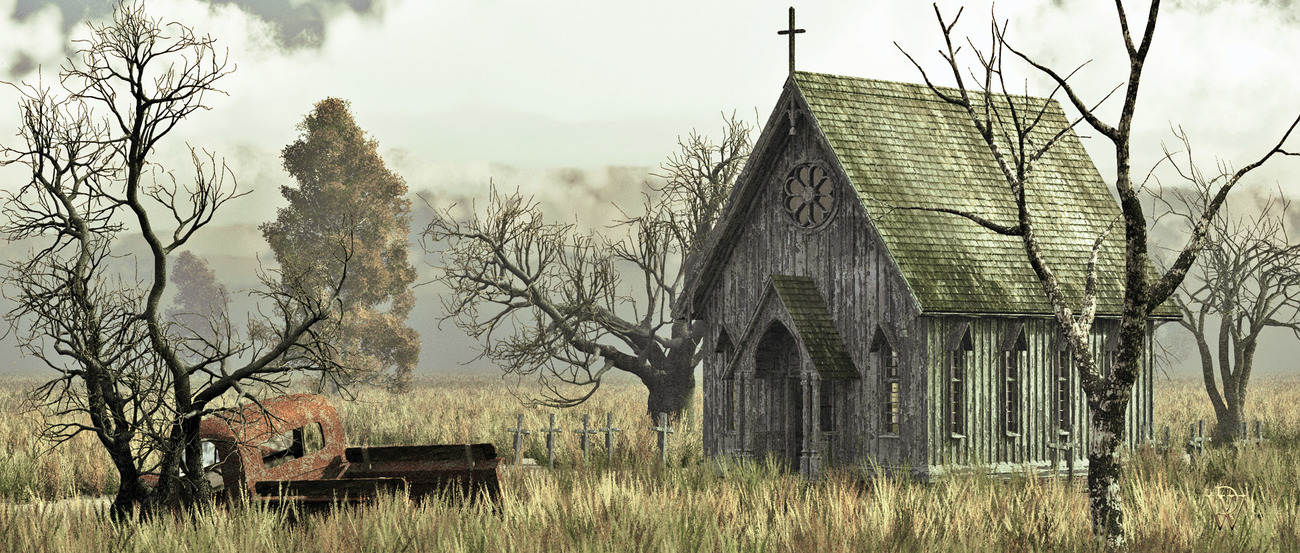 Abandoned Church in a Wheat Field
