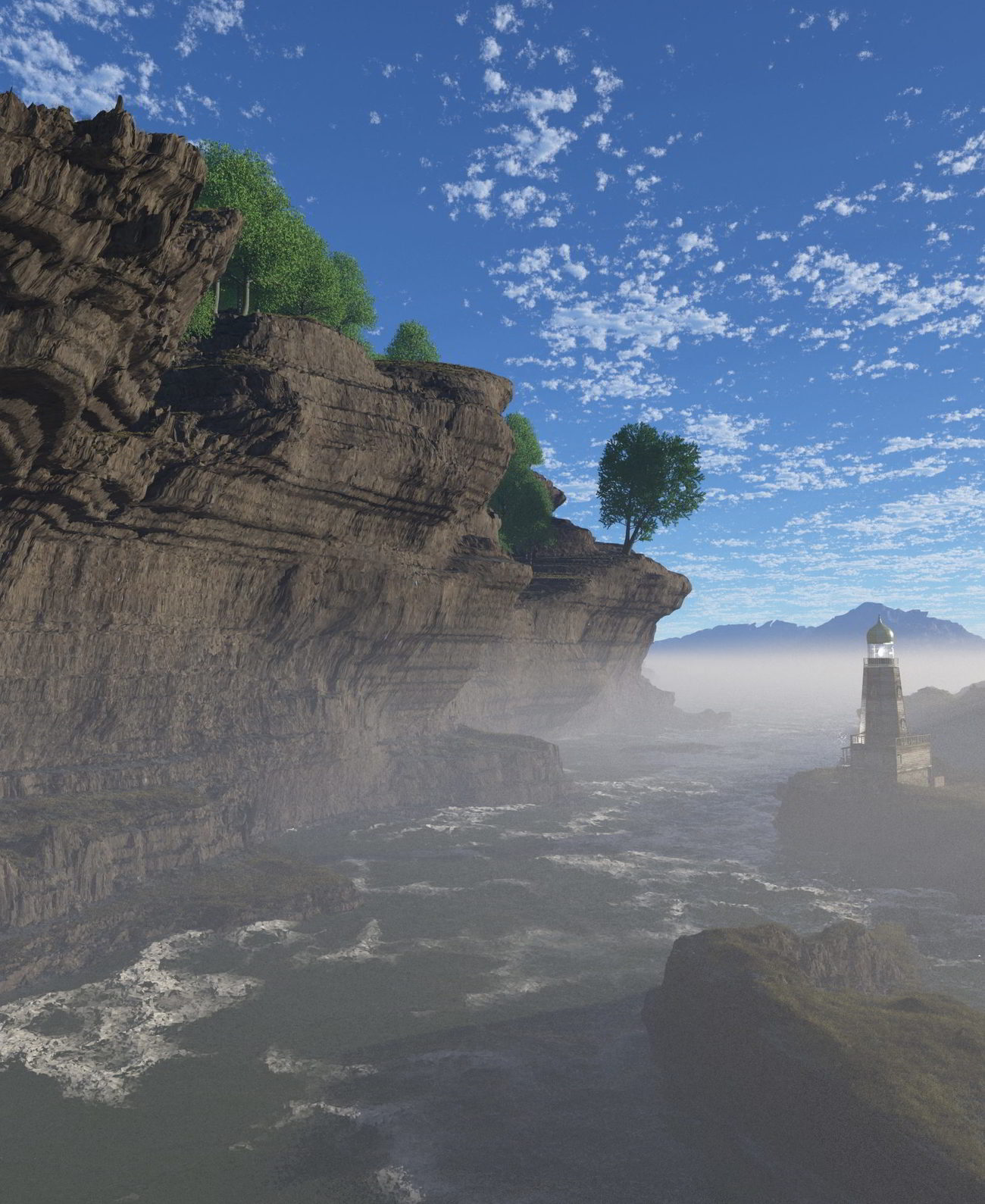 Reverse Strata scene with veg and lighthouse