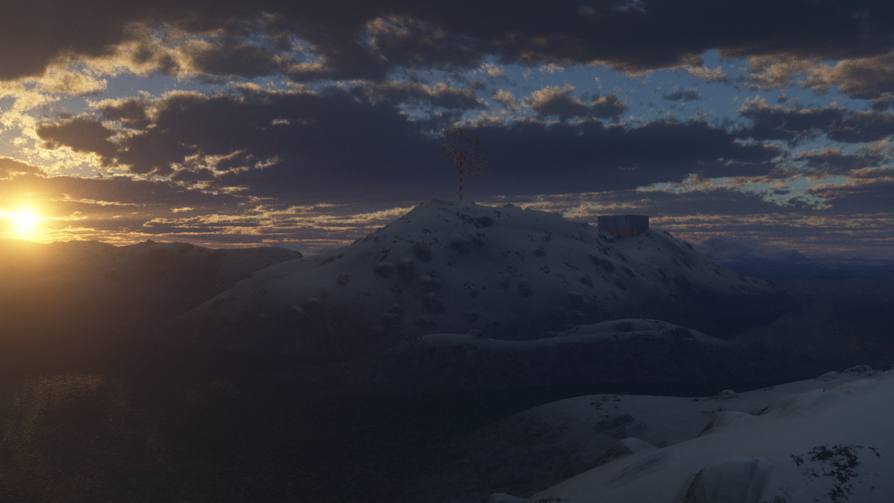 Arctic Sunset with Radar Station_WIP