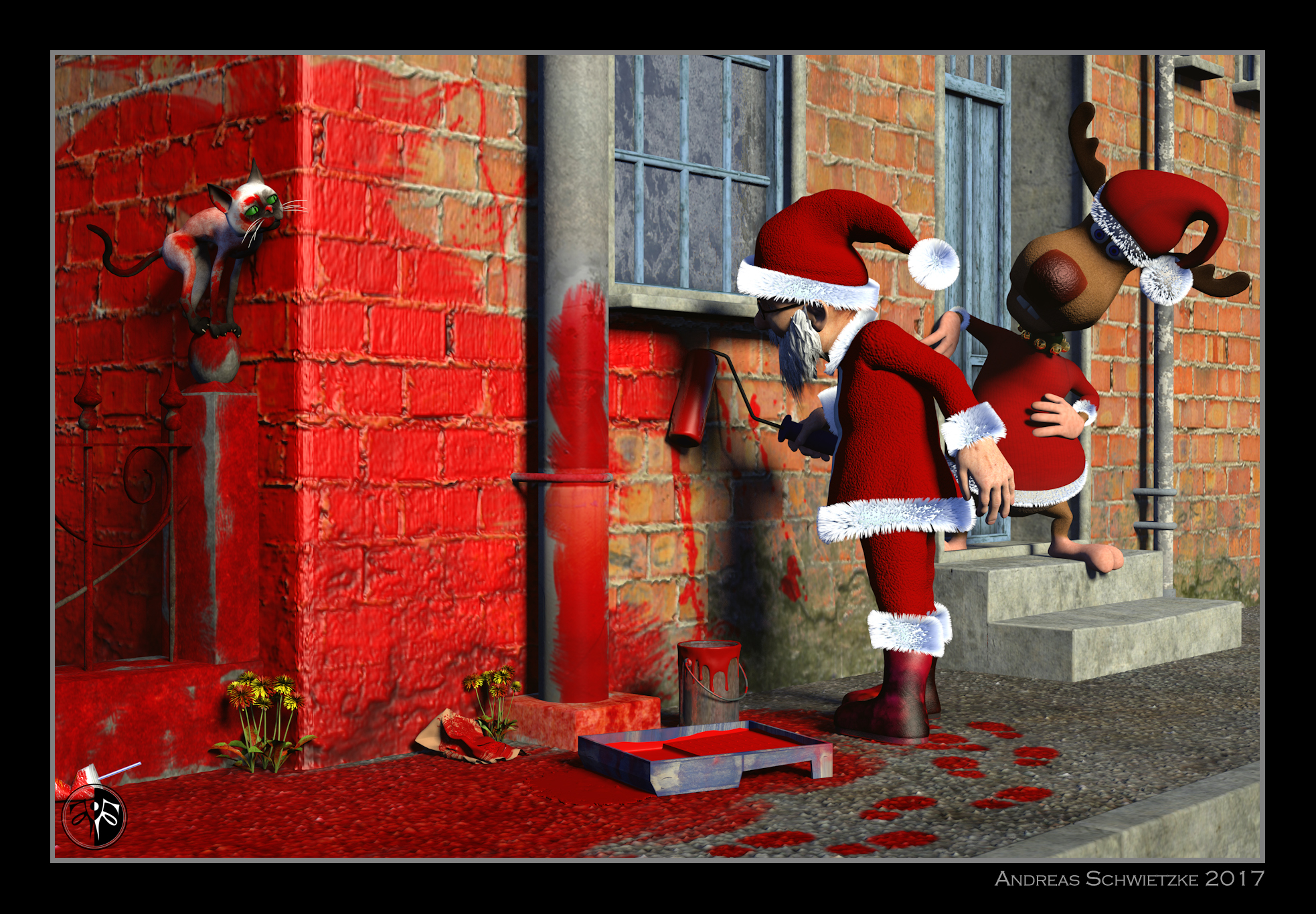 Santa Claus in the intoxication of colors